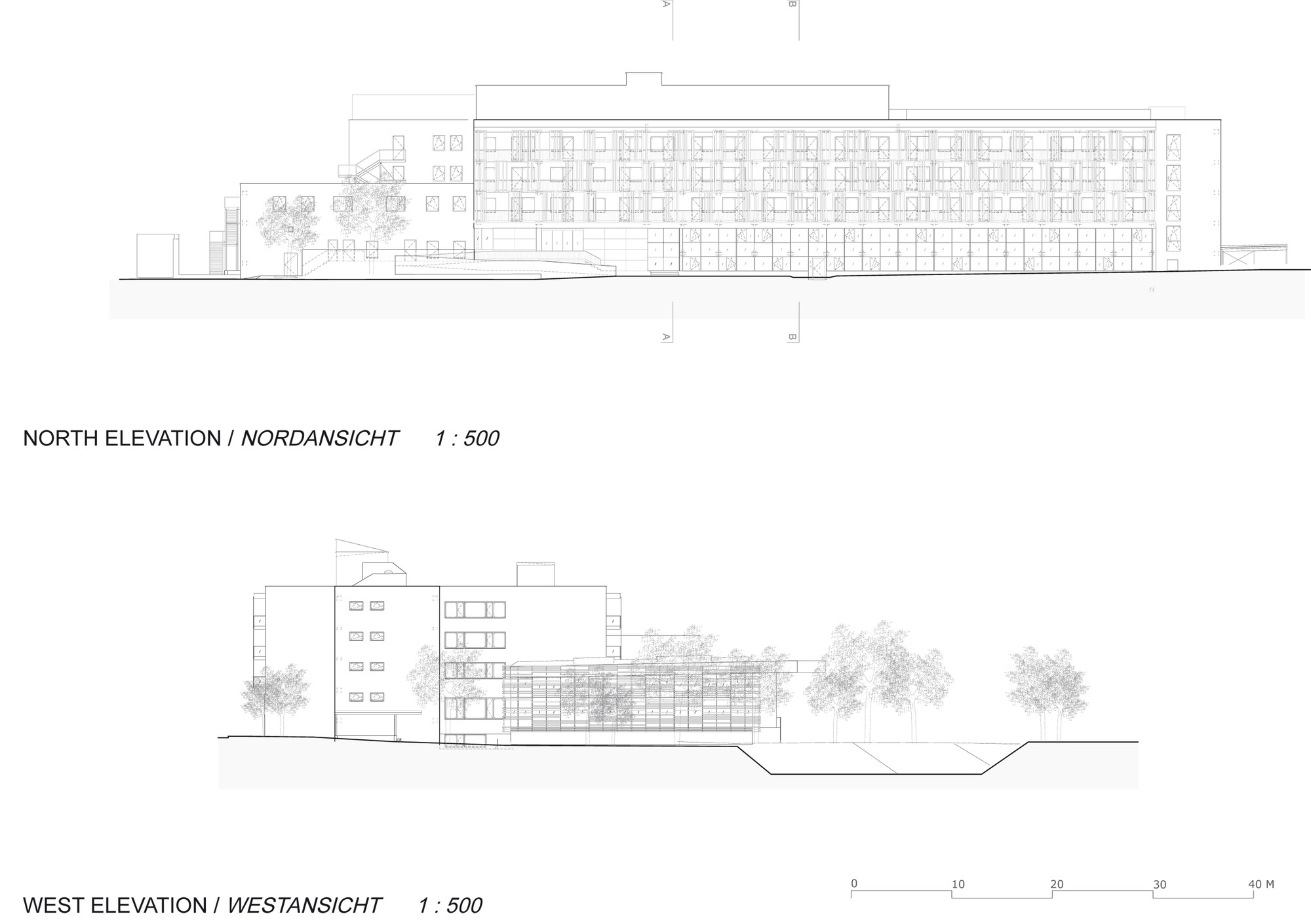 Elevations: North, West