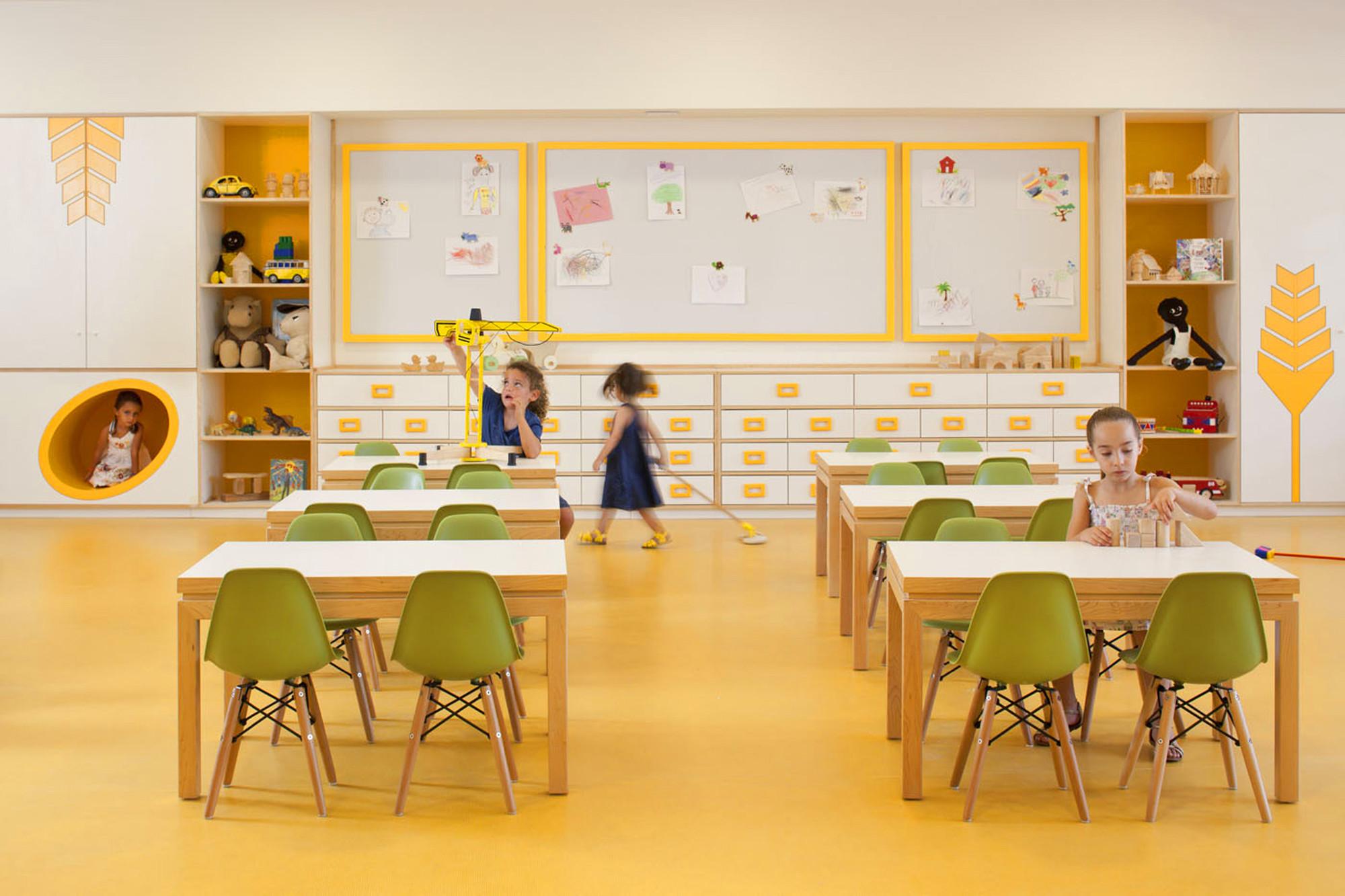 Modern Classroom For Kids ~ Kfar shemaryahu kindergarden sarit shani hay archdaily