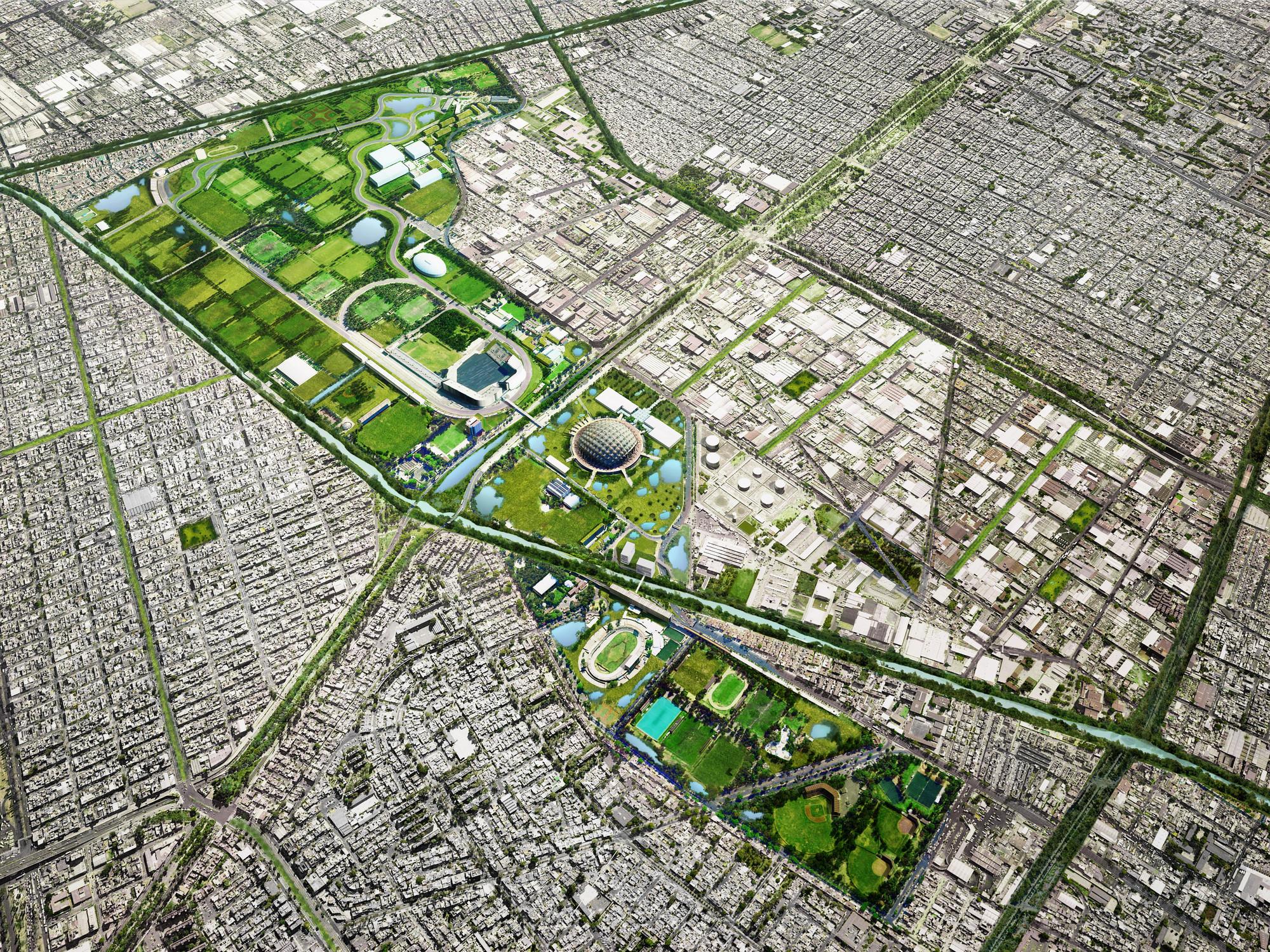 Proyecto Río la Piedad y Ciudad Deportiva prometen devolver al D.F. su relación con el agua, Ciudad deportiva. Image Courtesy of Aldo Urban