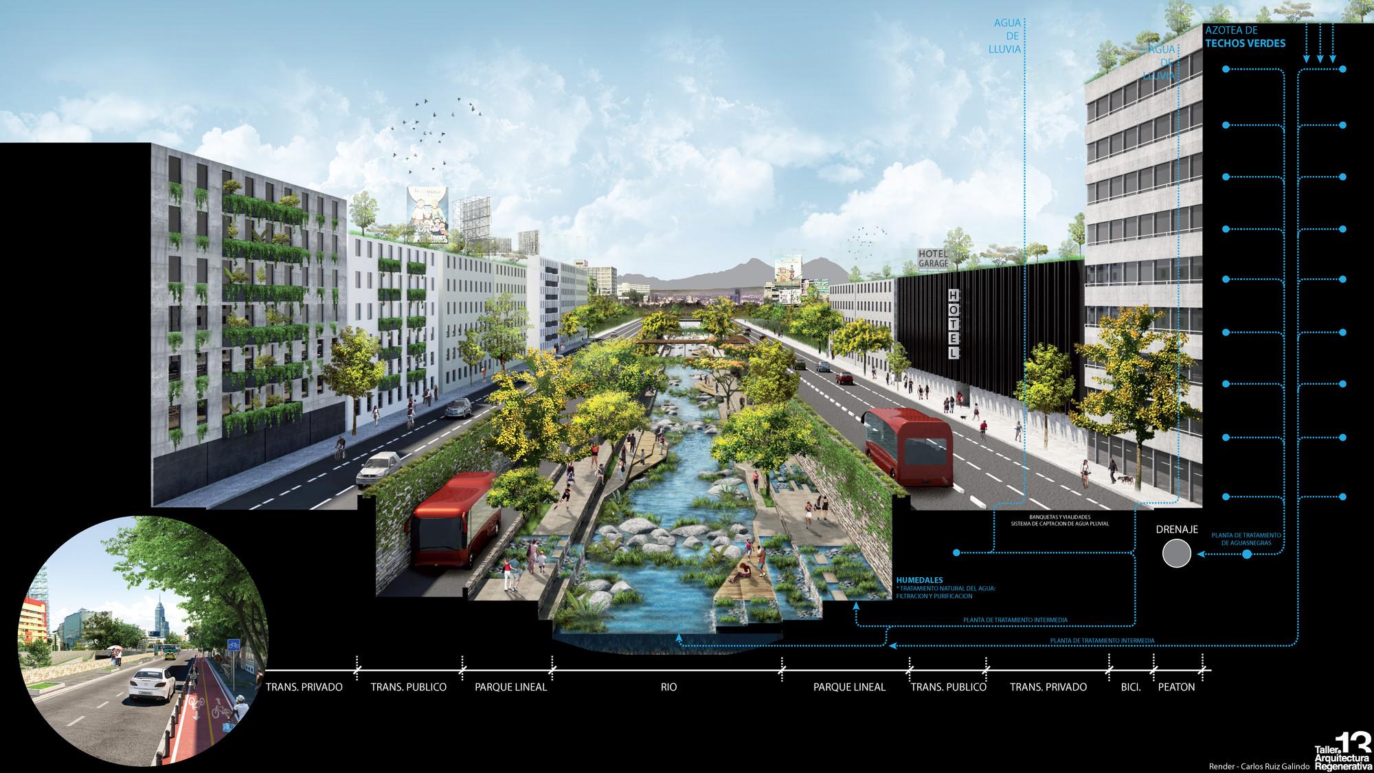 Río la Piedad, corte. Image Courtesy of Taller 13 Arquitectura Regenerativa