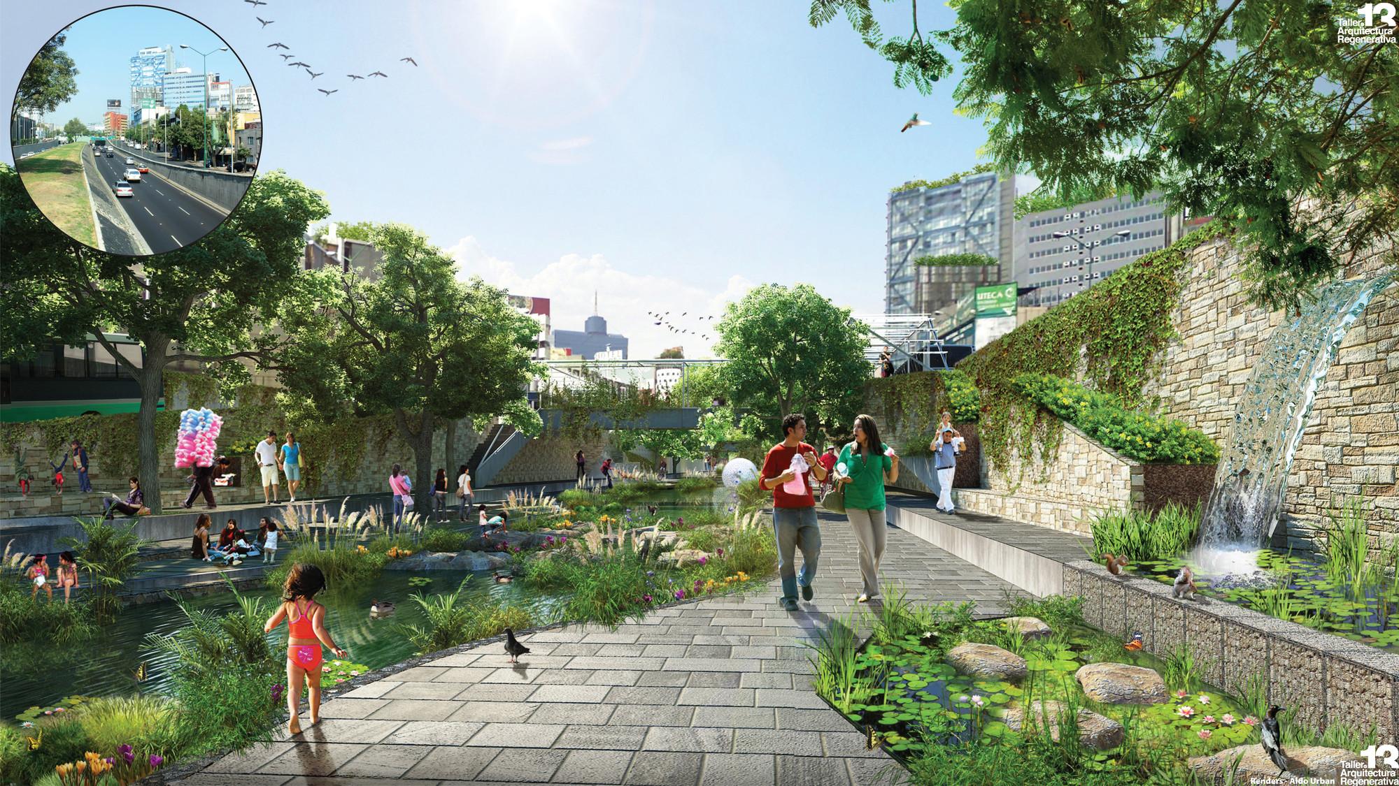 Río la Piedad, parque lineal. Image Courtesy of Taller 13 Arquitectura Regenerativa