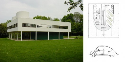 Ville Savoye (photo by Tim Brown), its floorplan and the Voiture Minimum, the car designed by Le Corbusier.. Image