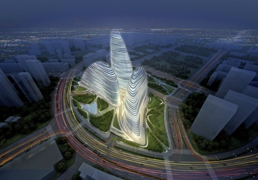 Wangjing SOHO: Northwest Aerial . Image Courtesy of Zaha Hadid Architects