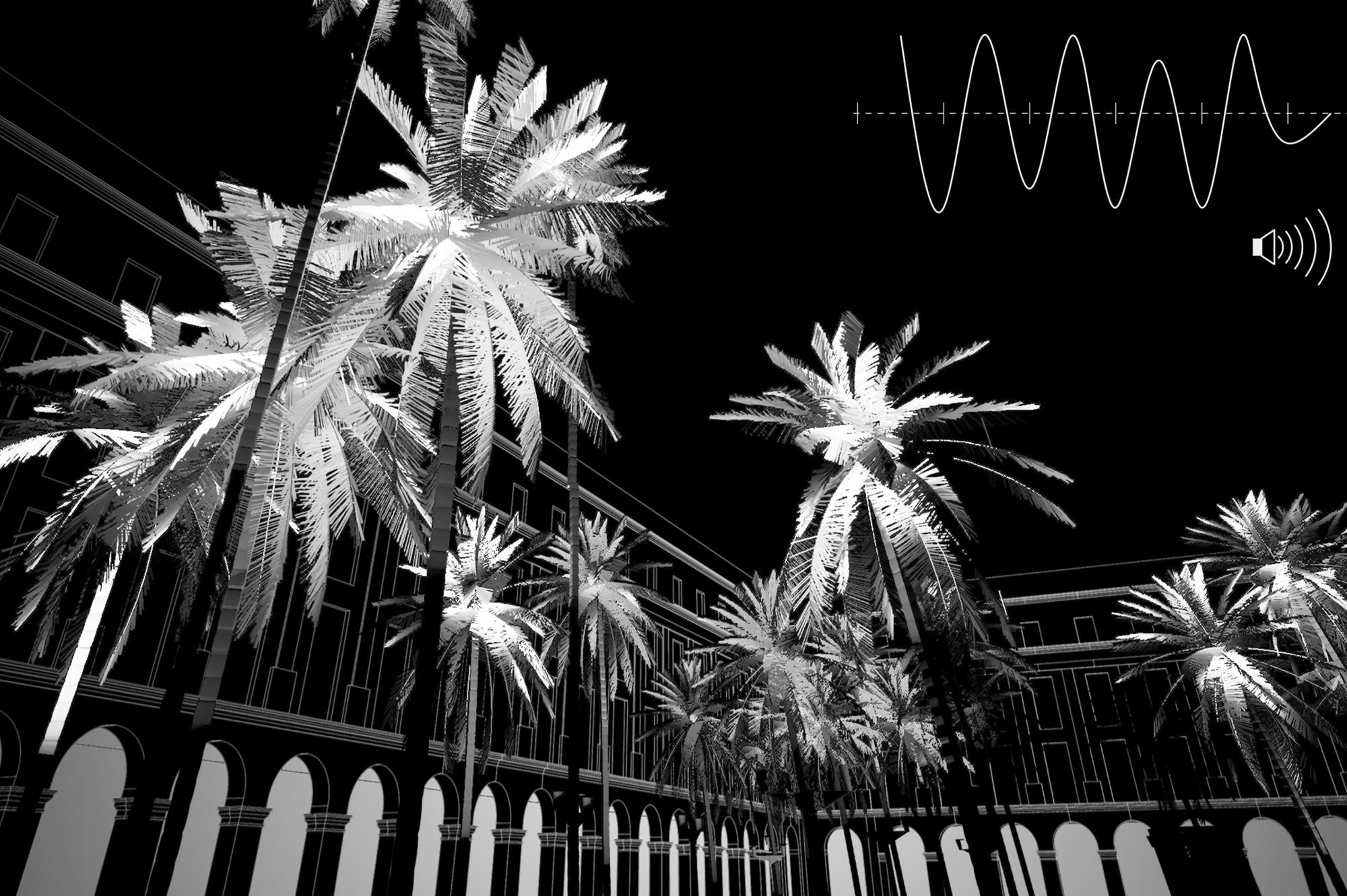 25 propuestas seleccionadas y 1 propuesta ganadora para la iluminación en la Plaza Reial de Barcelona: PALMERES por Pablo Martinez , © Cortesía de Llums