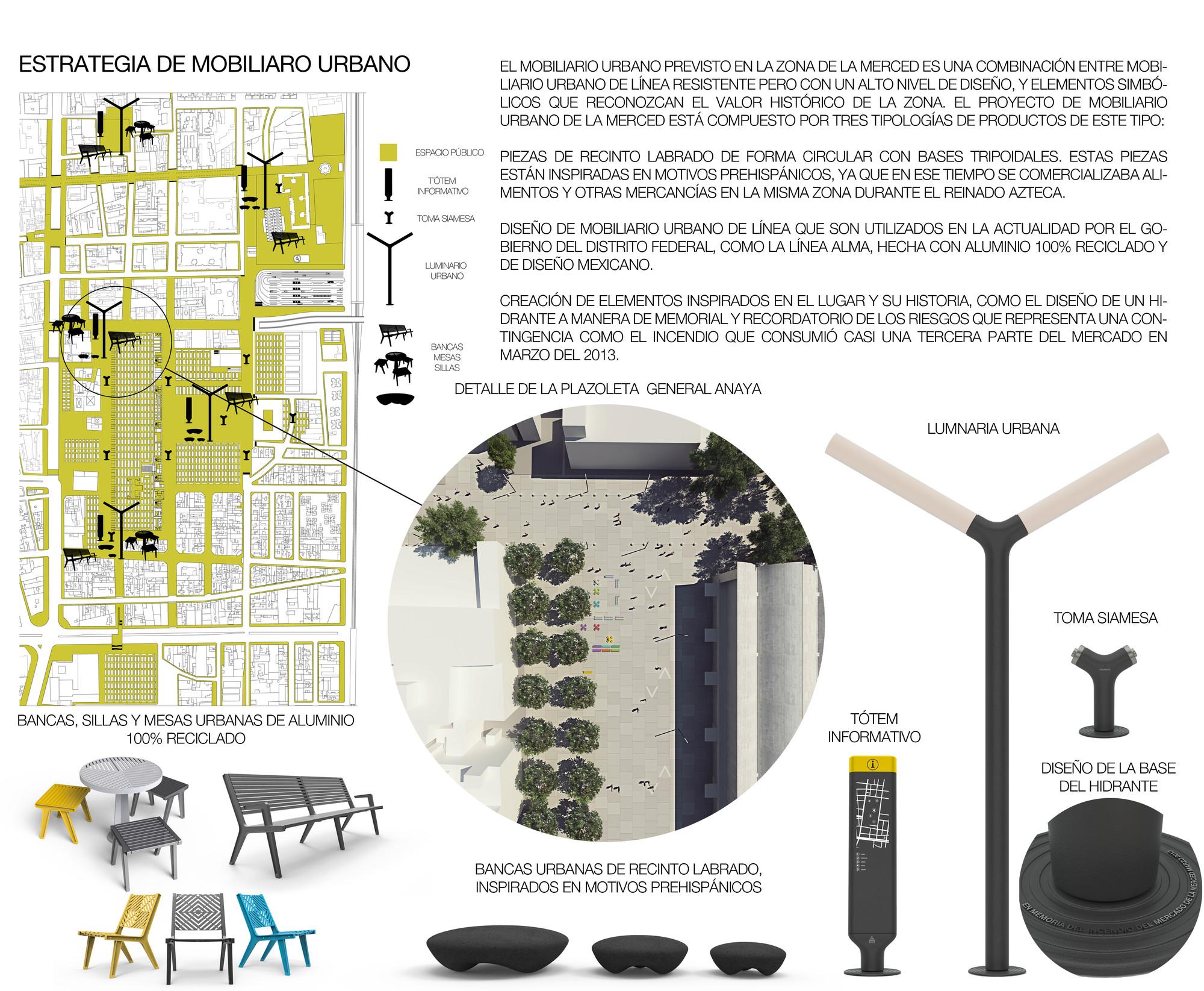 Estrategia de mobiliario urbano. Image Courtesy of José Muñoz Villers y Carlos Marín
