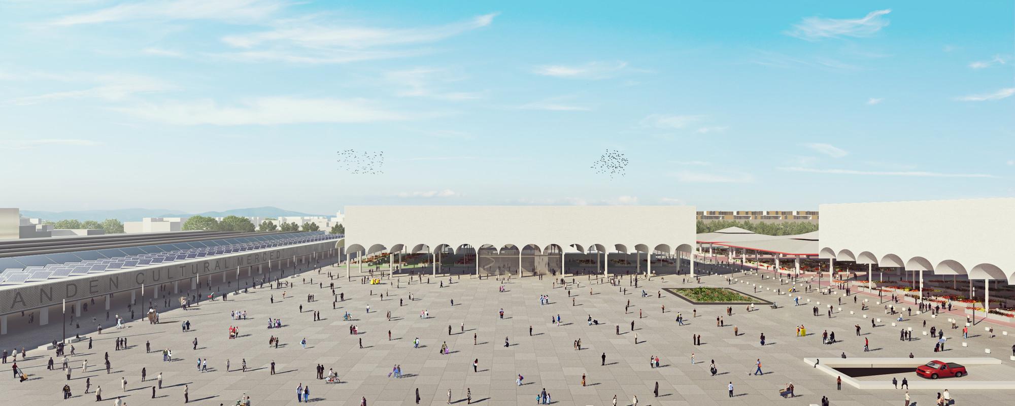 Primer Lugar Concurso Anteproyecto Conceptual para el Plan Maestro de La Merced en Ciudad de México, Vista plaza principal. Image Courtesy of José Muñoz Villers y Carlos Marín