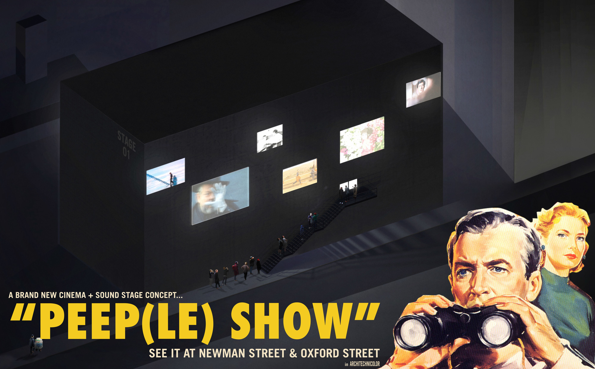 Third Place: Peep(le) Show. Image Courtesy of London Cinema Challenge / Combo Competitions