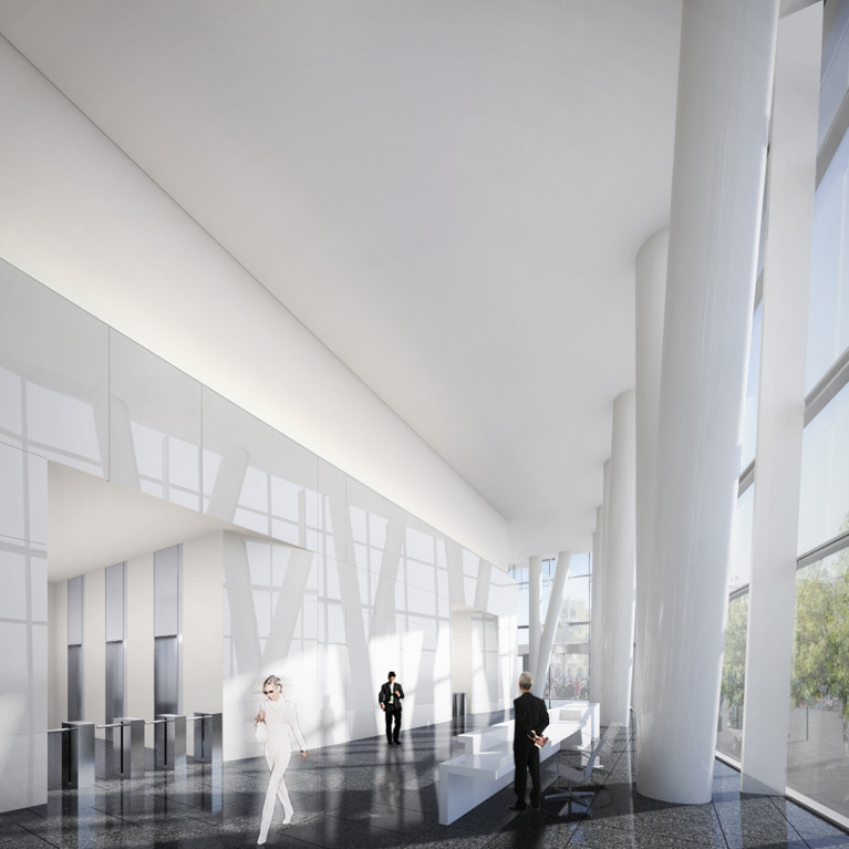 Lobby. Image Courtesy of Richard Meier & Partners Architects