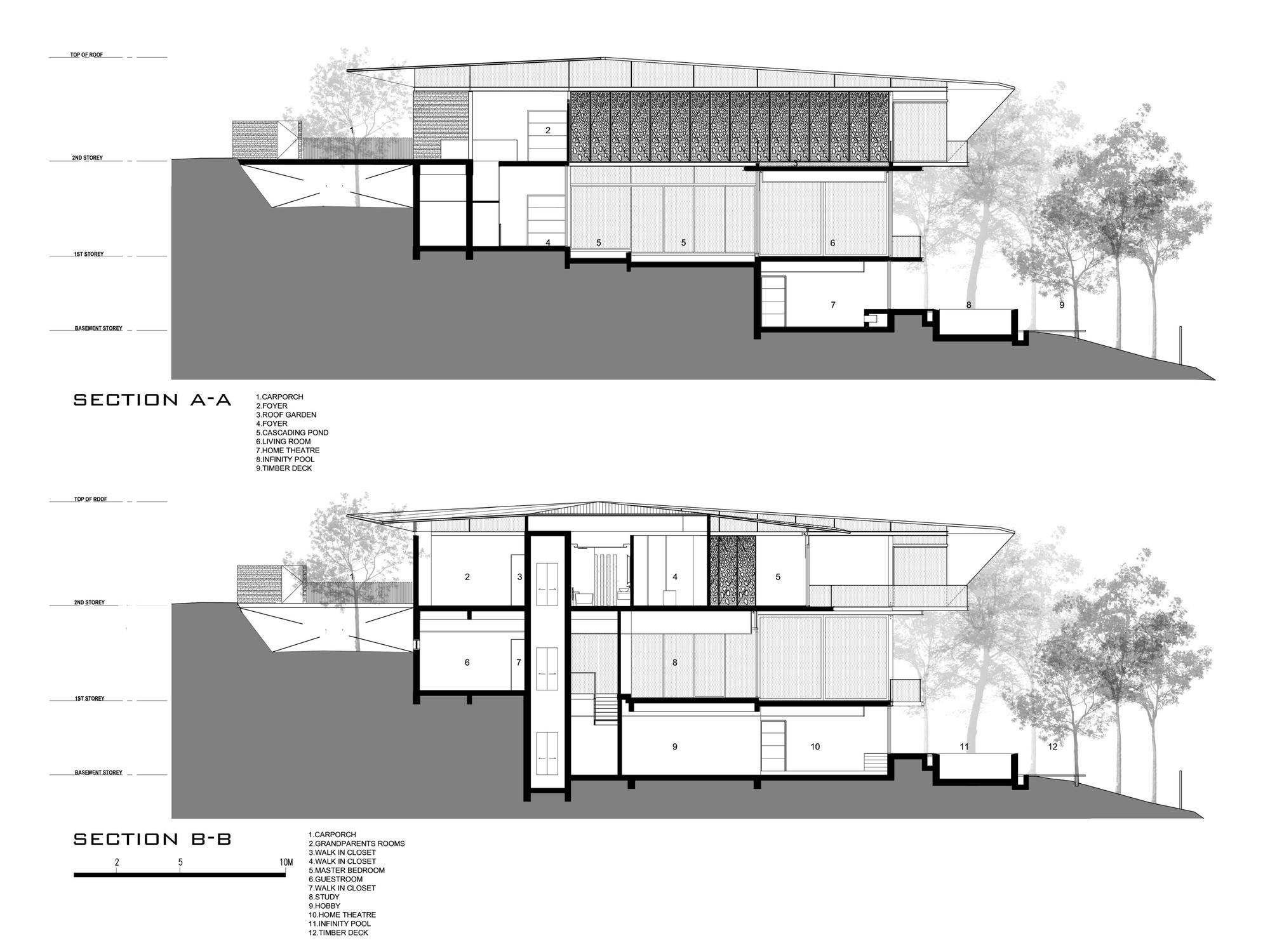 Gallery of hillside house ar43 architects 16 for House plans on hill slopes