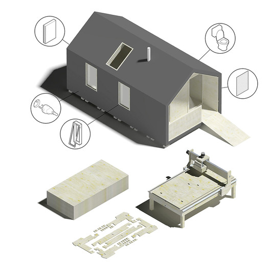 The various components of a WikiHouse. Image Courtesy of Wikihouse via Metropolis Magazine
