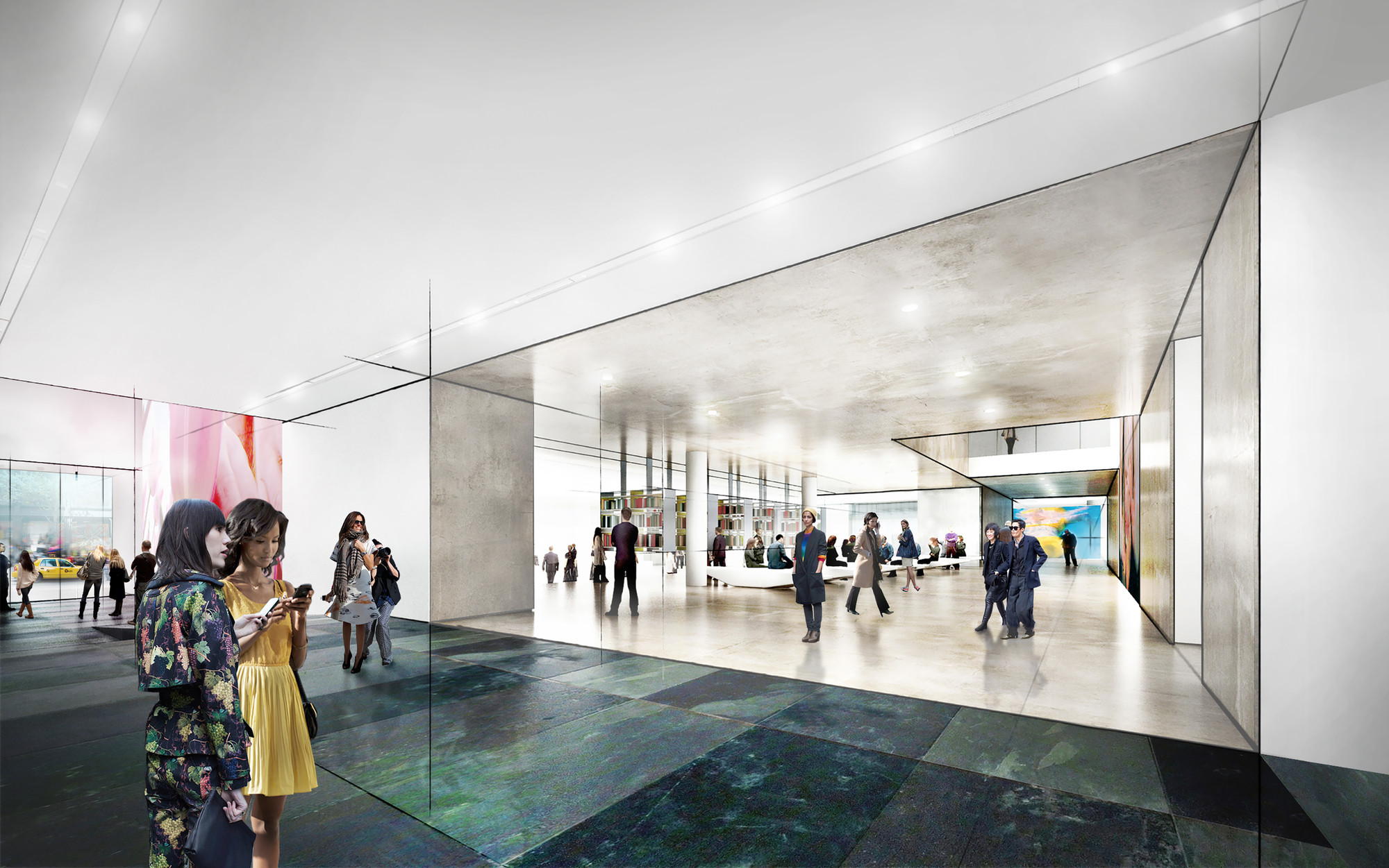 Rendering of the west lobby of the new MoMA, by Diller Scofidio + Renfro. Image Courtesy of MoMA