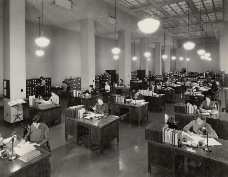 Photograph of the Division of Classification and Cataloging, 1937. Image Courtesy of Wikimedia Commons, the National Archives and Records Administration