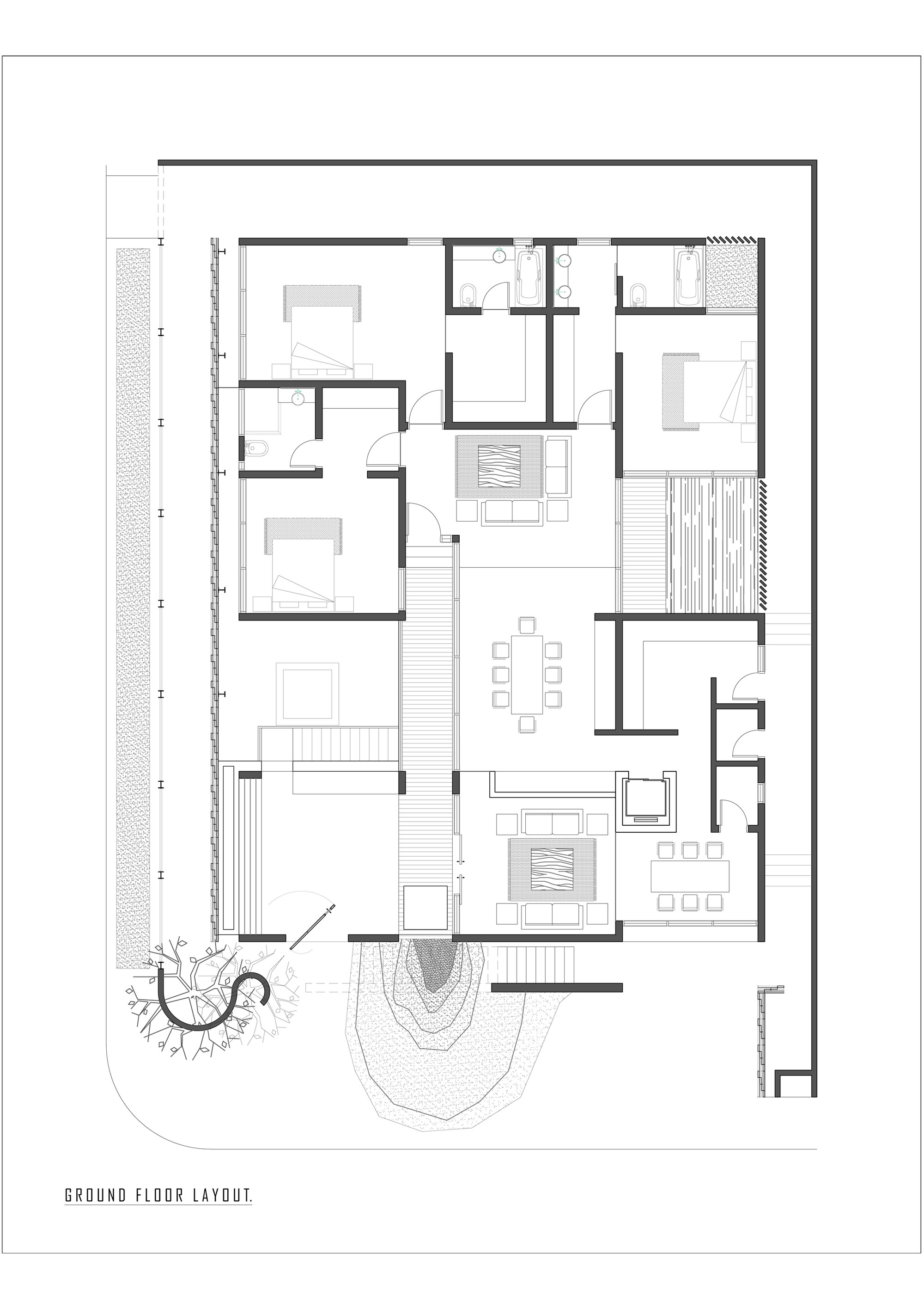 Galer a de residencia kapadia coalesce design studio 20 Ground floor house plan