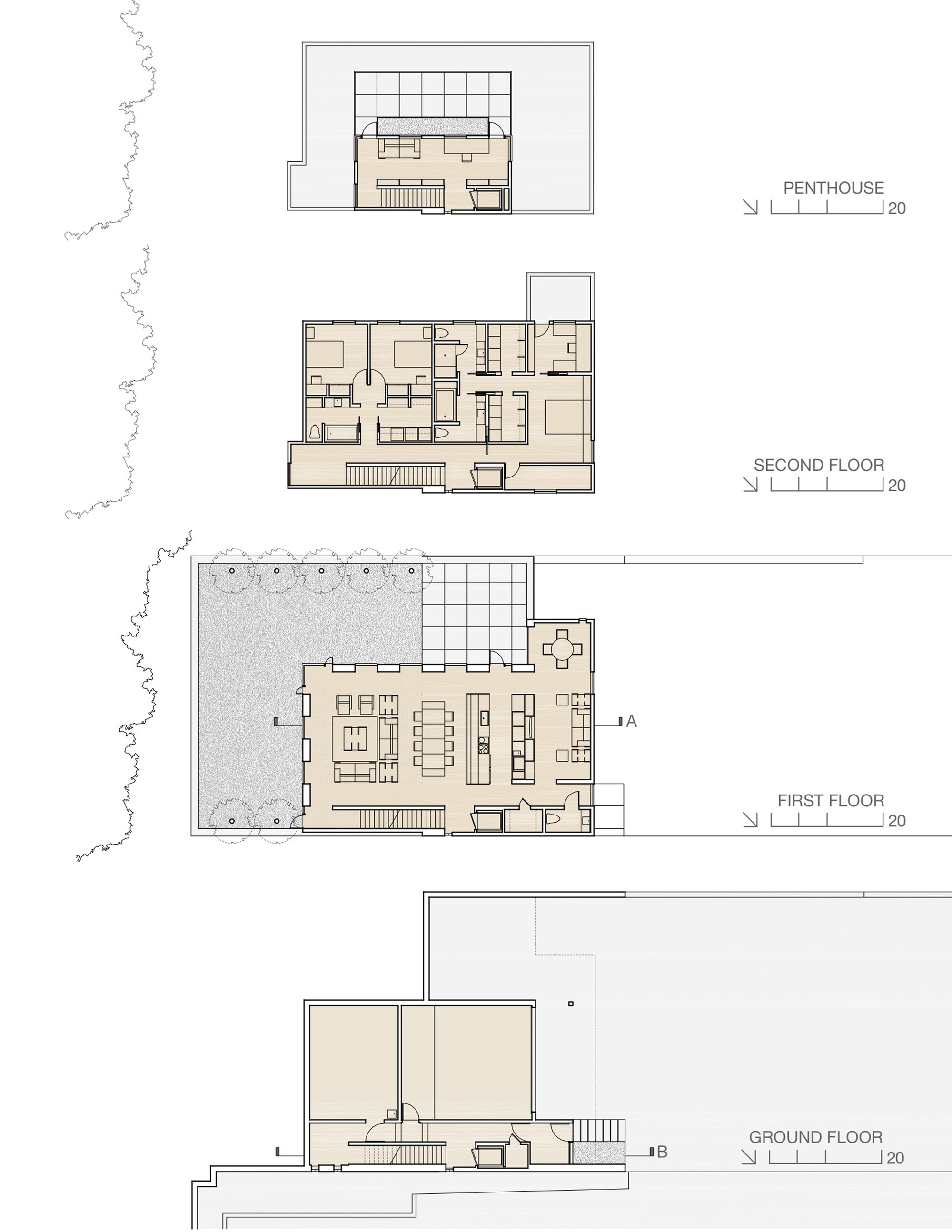 Gallery of fairview townhouse bucchieri architects 17 for Large townhouse floor plans