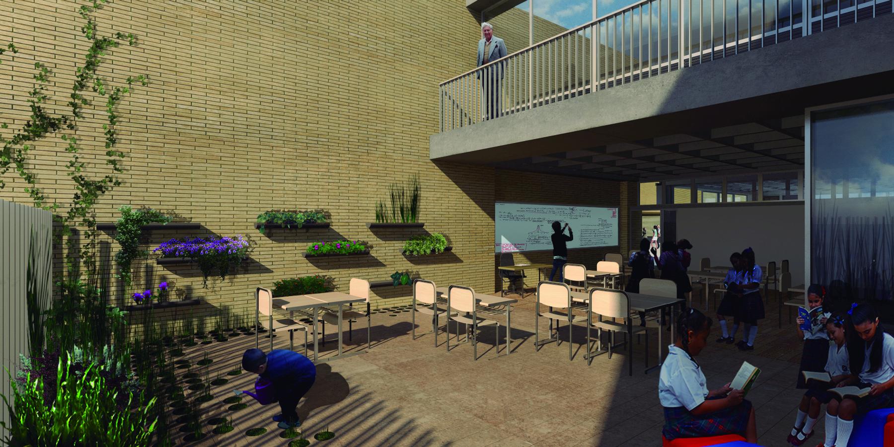Vista aula de primaria . Image Courtesy of FP – oficina de arquitectura + Arq. Camilo Foronda