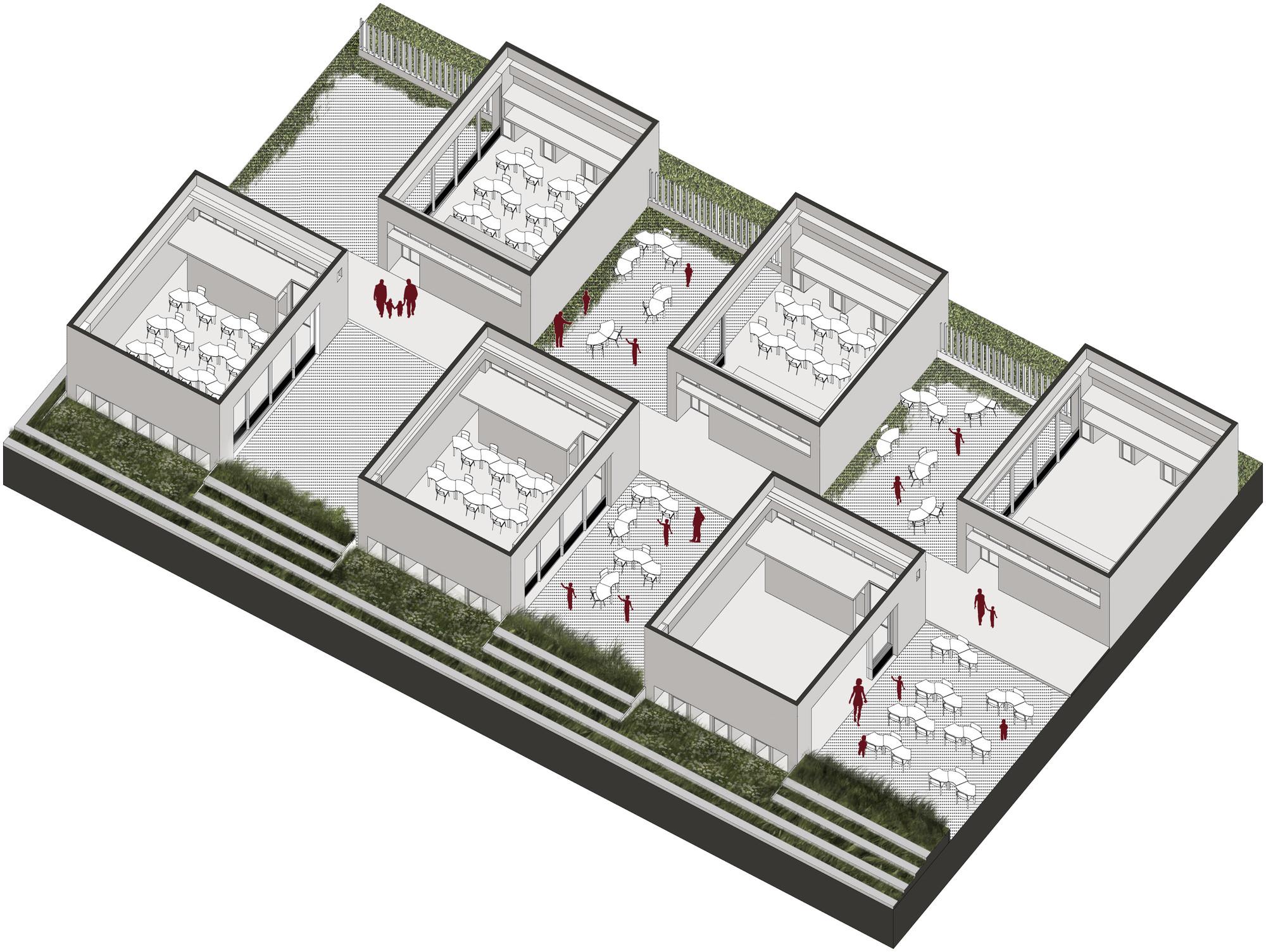 Sistema de patios - pre escolar. Image Courtesy of FP – oficina de arquitectura + Arq. Camilo Foronda