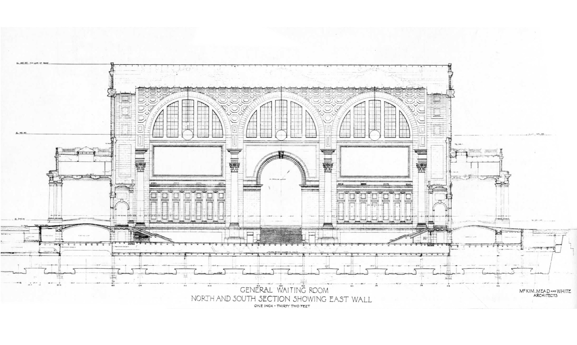 Plan Elevation Section Of Bus Stop : Ad classics pennsylvania station mckim mead white