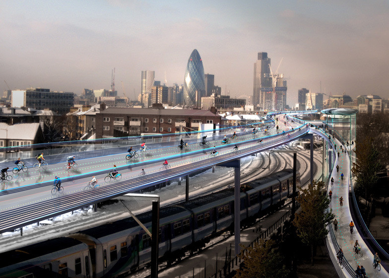Why The Skycycle Would Never Work, Is this the answer to London's cycle safety woes?. Image © Foster + Partners
