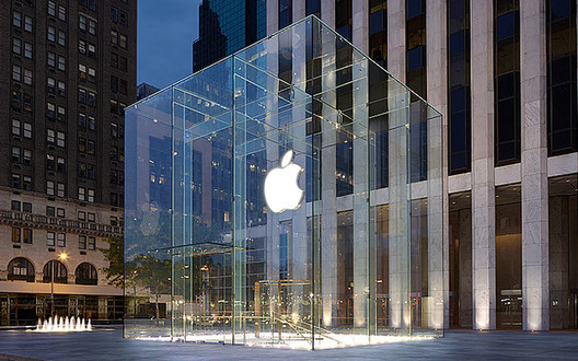Snowblower Shatters Panel of Apple Cube, Apple's 5th Avenue Store. Image via Buzzfeed. Image