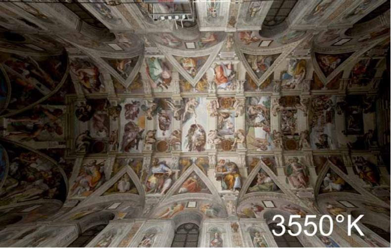 Instalación de prueba del nuevo sistema de iluminación a una temperatura de color de 3550 Kelvin. . Image © Governatorato dello Stato della Città del Vaticano