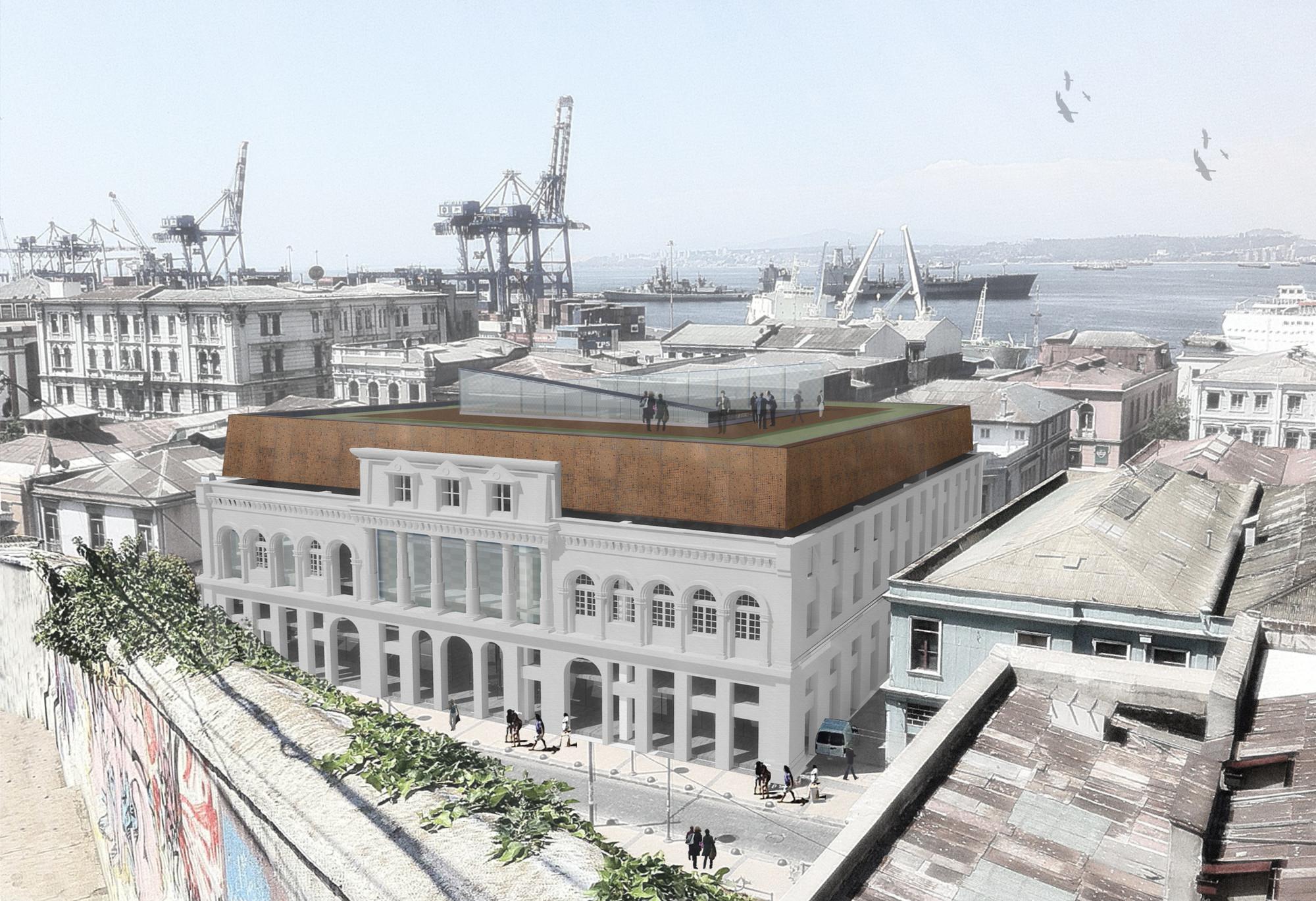 Gubbins Arquitectos diseñará edificio institucional de MINVU SERVIU, Valparaíso, Render Vista Exterior. Image Courtesy of Gubbins Arquitectos