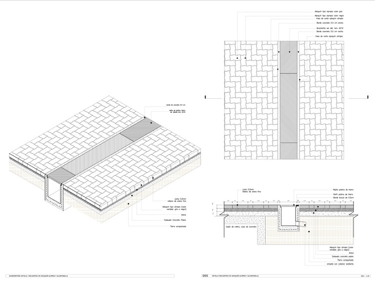 Detalle Constructivo / Encuentro Adoquín y Alcantarilla