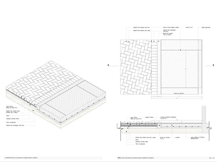 Detalle Constructivo / Encuentro Adoquín y Concreto