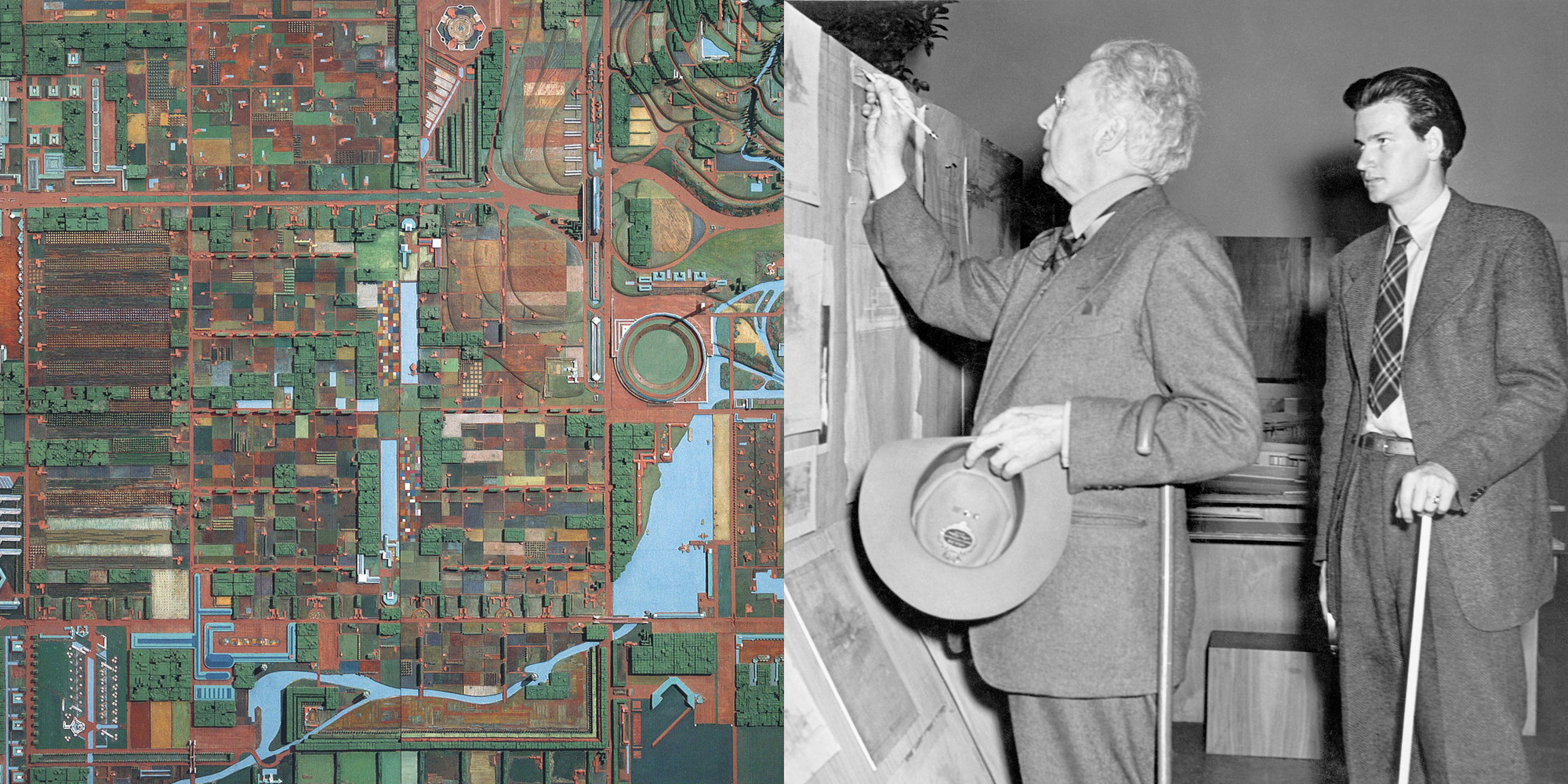 A Master Architect's Surprising Obsession, Frank Lloyd Wright. Broadacre City Project. 1934–35. Model: painted wood. The Frank Lloyd Wright Foundation Archives (The Museum of Modern Art | Avery Architectural & Fine Arts Library, Columbia University, New York); Frank Lloyd Wright and Eugene Masselink at the exhibition Frank Lloyd Wright, American Architect. November 13, 1940–January 5, 1941. The Museum of Modern Art Archives, New York. Photo by Soichi Sunami