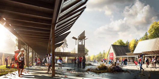 A rendering of the New Utøya Project a redesign of Utøya Island in Norway - the location of a 2011 massacre. Image © Fantastic Norway