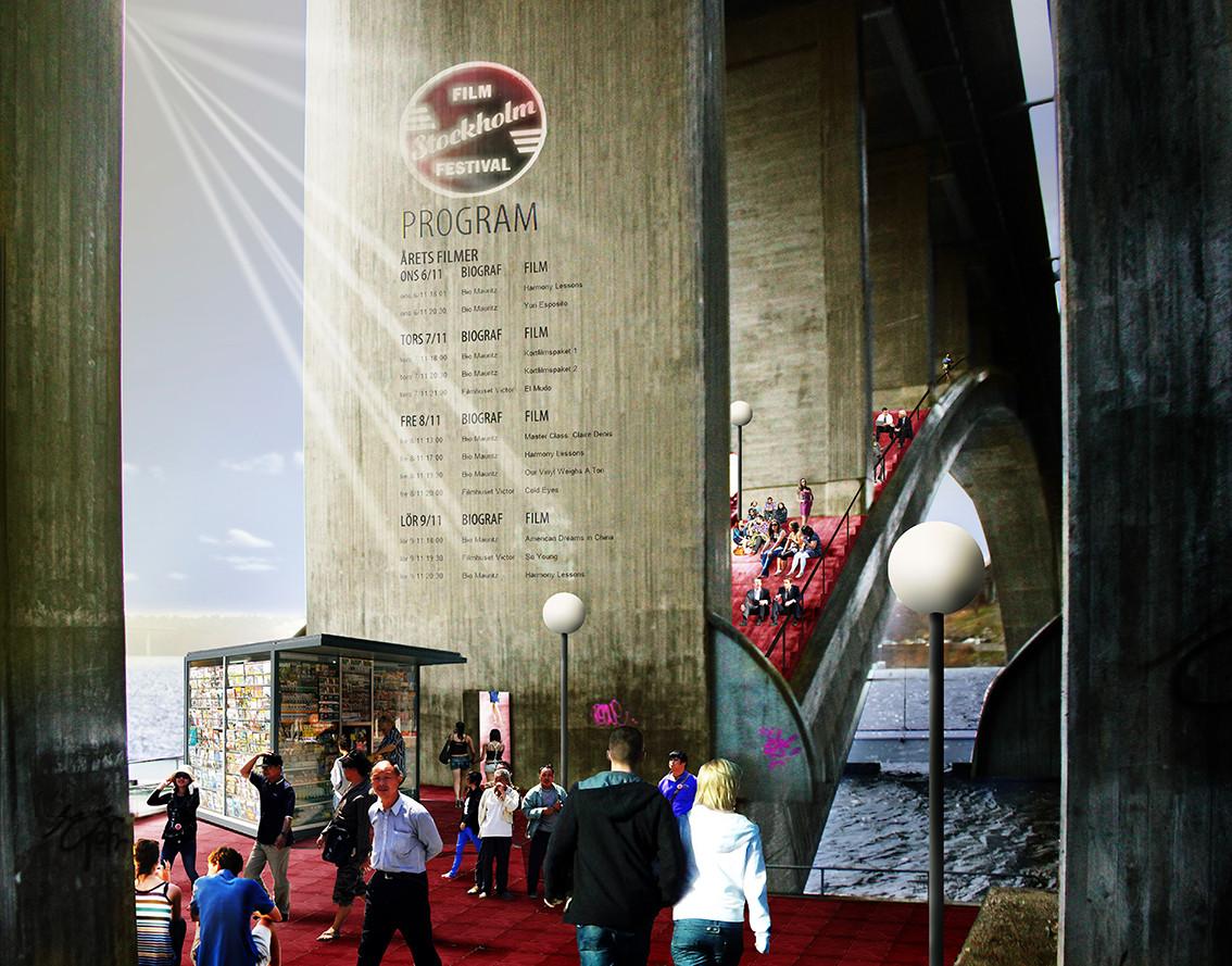 Las bóvedas incluirían graderías de color rojo para la proyección de películas sobre los pilares de hormigón. Imagen © visiondivision