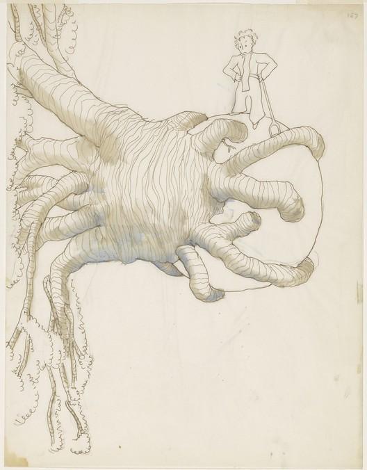 Los vuelos de Le Corbusier y Antoine de Saint-Exupéry, Antoine de Saint-Exupéry (1900–1944), Dibujo para El Principito. Imagen © Graham S. Haber, Cortesía de The Morgan Library & Museum, New York