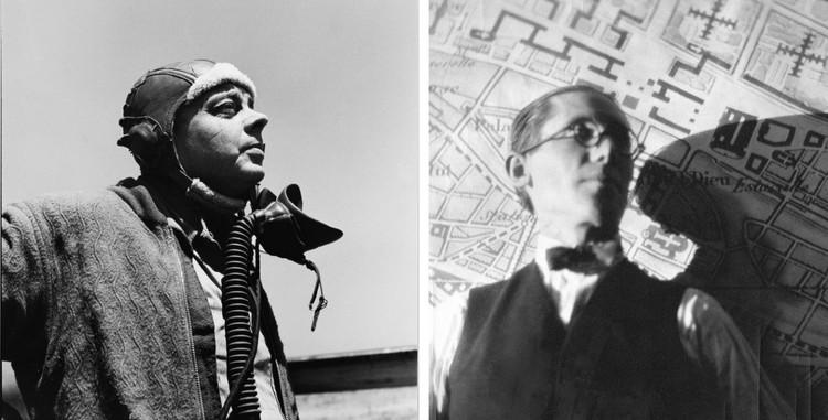 (Izquierda) Antoine de Saint-Exupéry en Alghero, Cerdeña, Mayo 1944, (Derecha) Le Corbusier apoyado en su Plan Voisin. Imagen © (Izq.) The John and Annamaria Phillips Foundation, (Der.) Fundación Le Corbusier