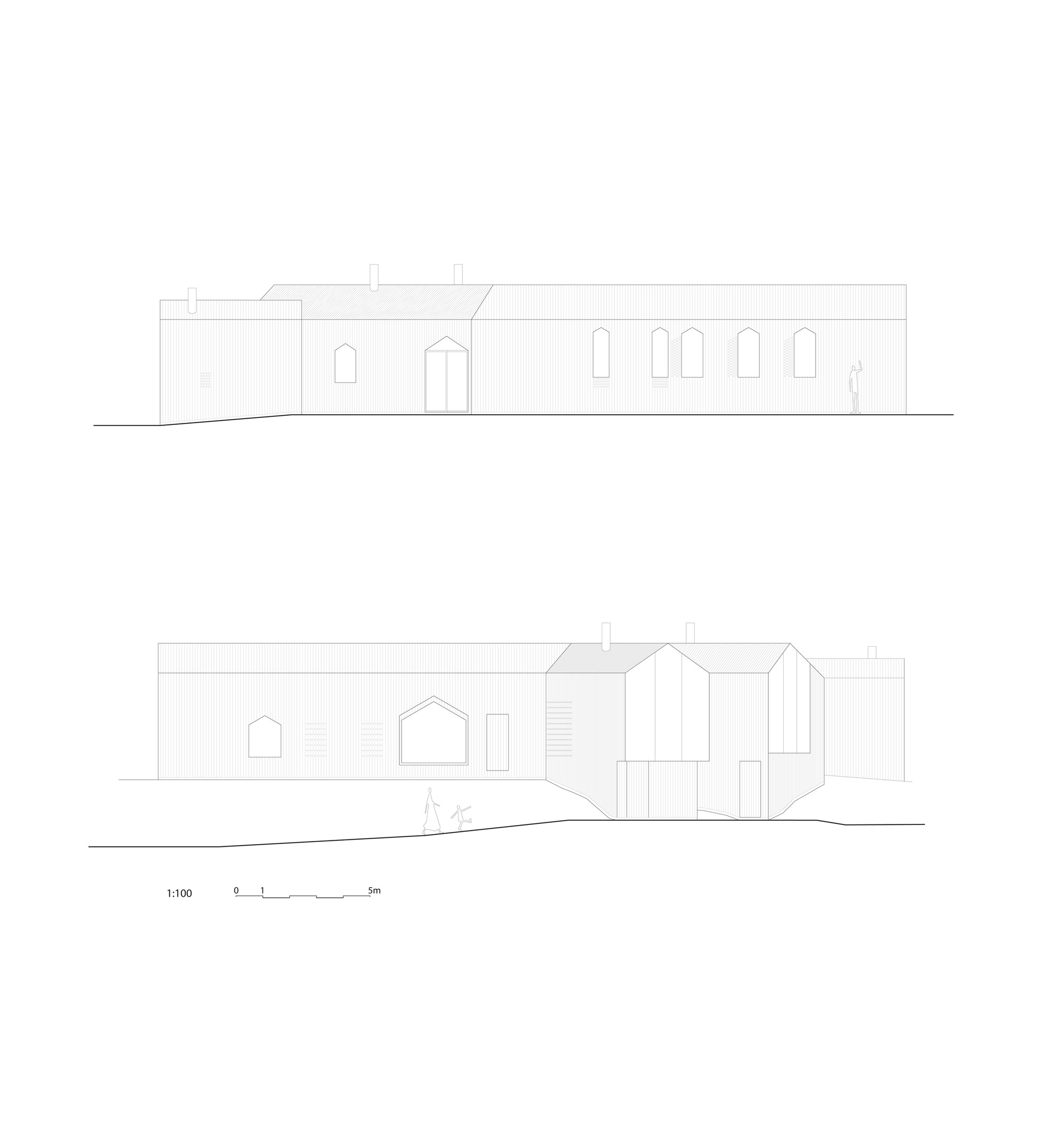 Elevations: South and North