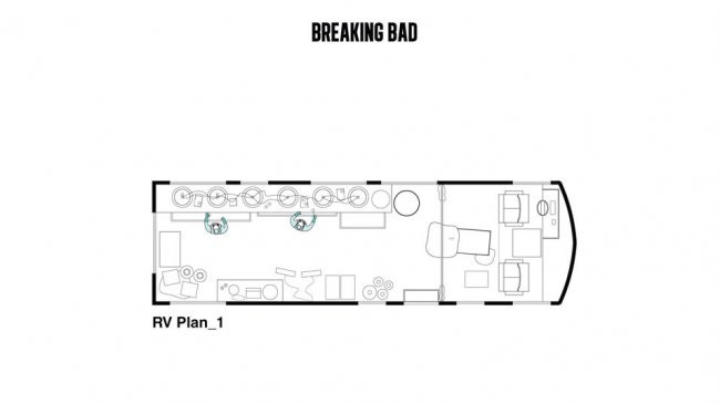 La planta del laboratorio portátil de metanfetamina de Walter White y Jessie Pinkman en 'Breaking Bad'. Imagen Cortesía de Interiors Journal