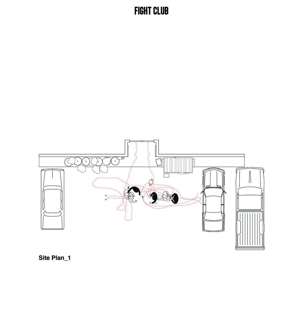 Planta de una de las escenas más importantes de 'Fight Club'. Imagen Cortesía de Interiors Journal