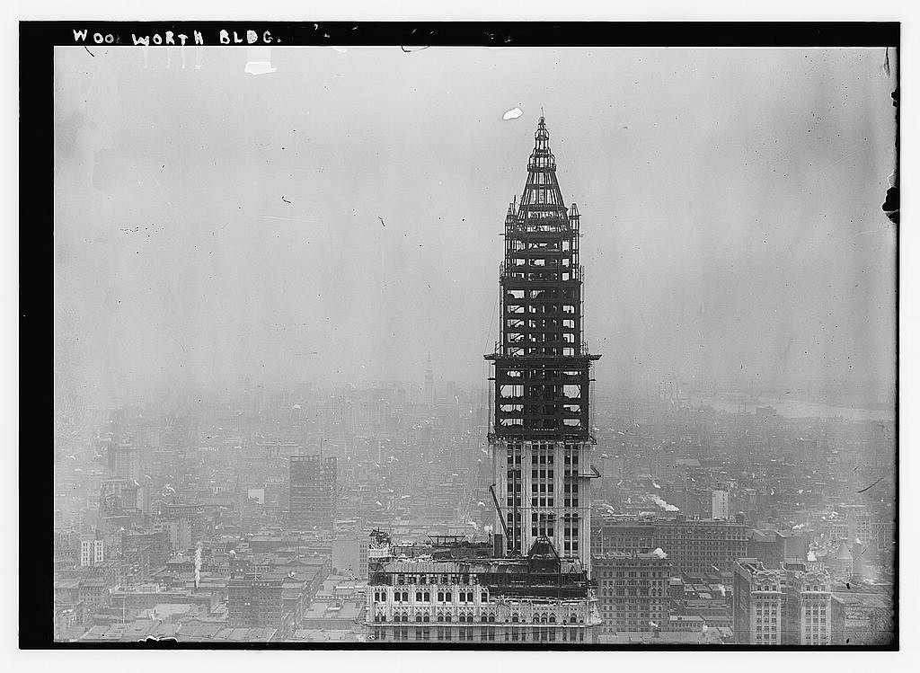Woolworth Building under construction, circa 1912. Image Courtesy of Flickr Commons Project