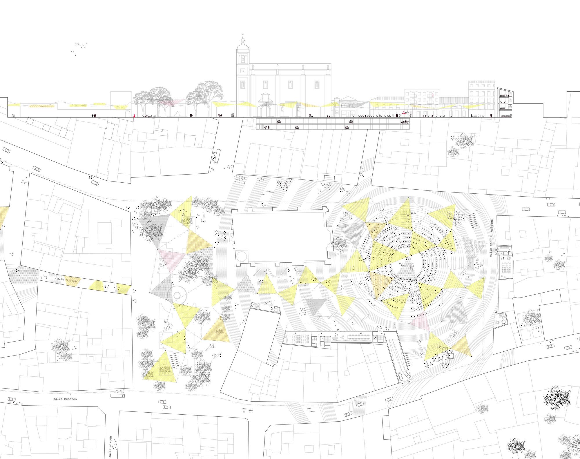 Ganador EUROPAN12: La ciudad adaptable. Consideración de los ritmos urbanos, Planta y sección