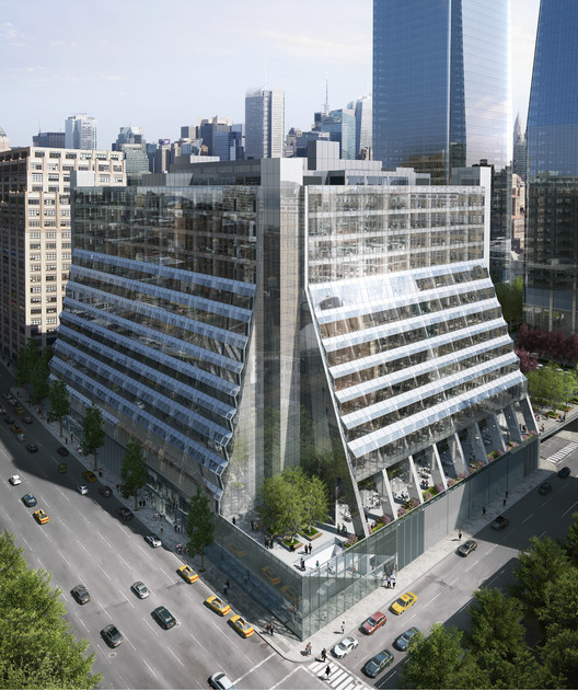 REX Unveils Details of Five Manhattan West Development, 450 West 33rd Street / Rendering of building with completed renovations