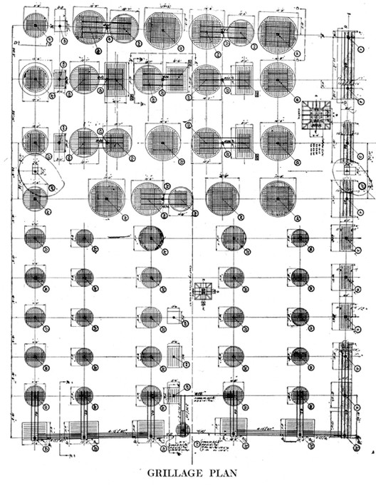 Grillage plan. Image © Drawings published in American Architect, 103