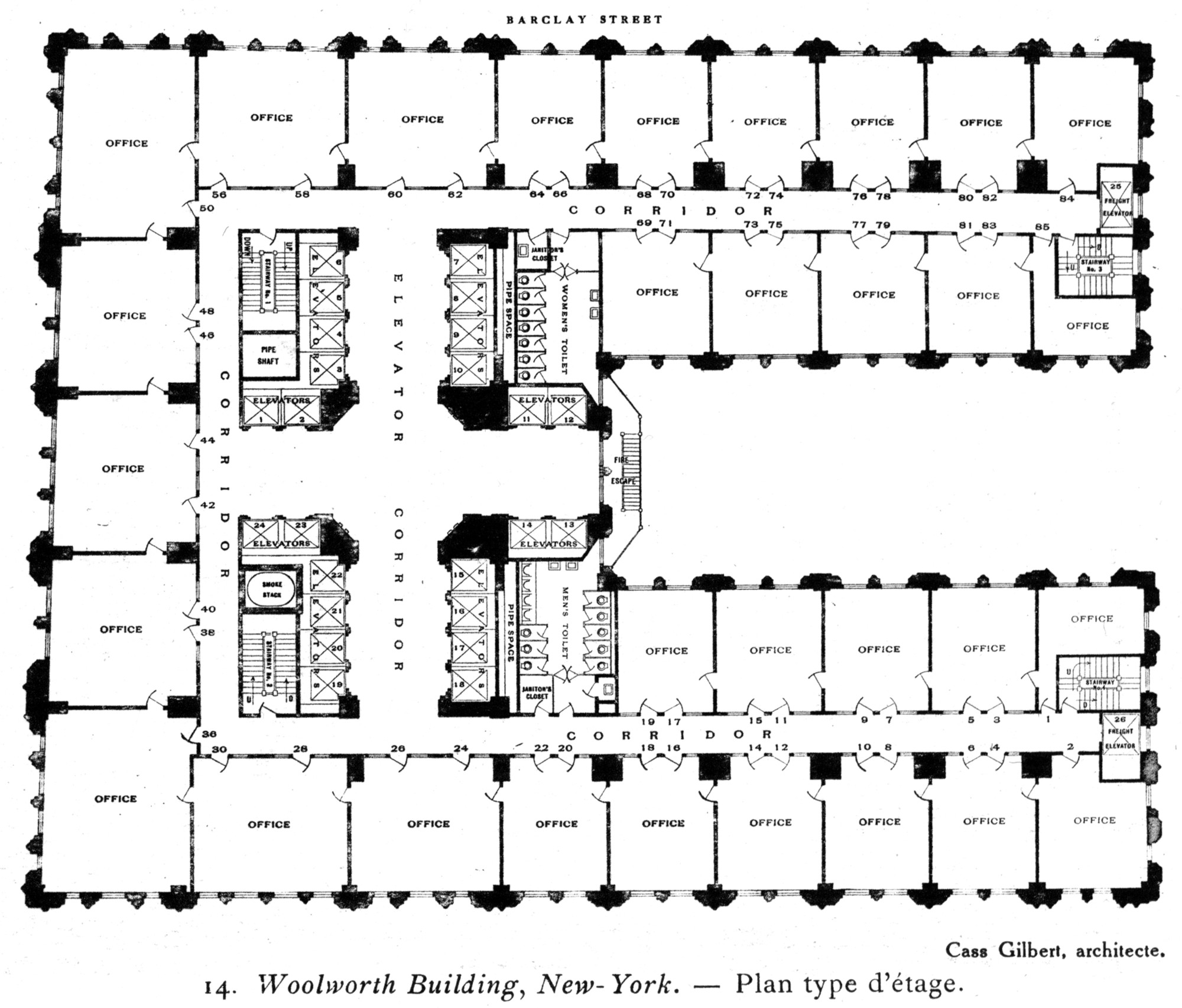 Typical upper level plan. Image © Penn State Libraries Pictures Collection