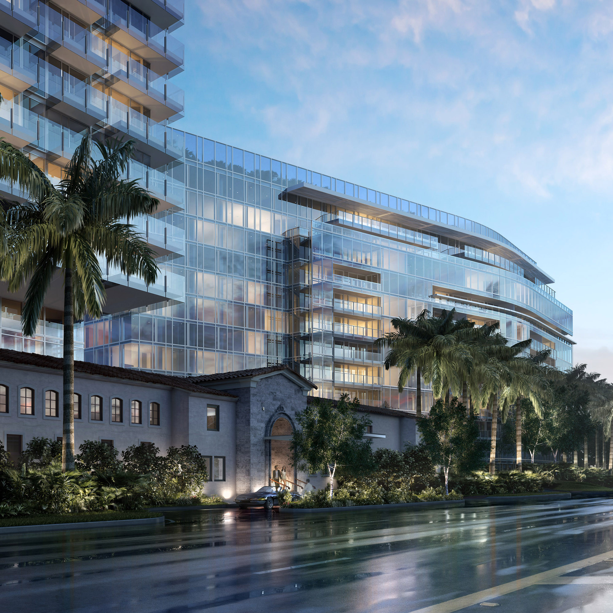 Richard Meier Unveils First Florida Beach Project, Now Underway, View of The Surf Club from Collins Avenue. Image © dbox for Fort Capital / Richard Meier & Partners