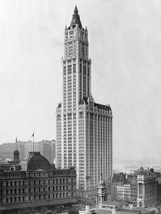 View of Woolworth Building and surrounding buildings (ca. 1913), via Wikimedia Commons