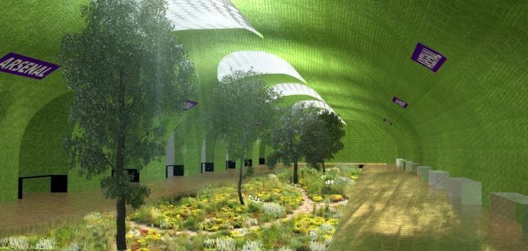 Propuesta para transformar estaciones en desuso del metro de París , en Parques, Piscinas y más, Estación Arsenal en Paris como parque subterráneo. Imágen Cortesía de Manal Rachdi, OXO Architects & Nicolas Laisné, vía IBT