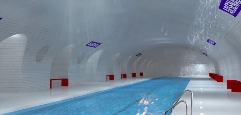 Estación Arsenal en Paris como parque una piscina. Imágen Cortesía de Manal Rachdi, OXO Architects & Nicolas Laisné, via IBT