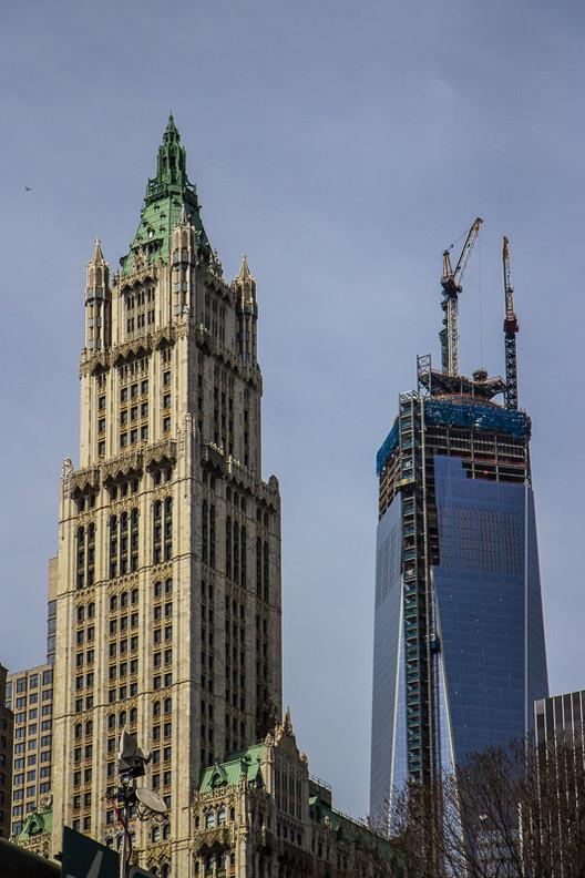 Exterior view during One World Trade Center construction. Image © Bob Estremera