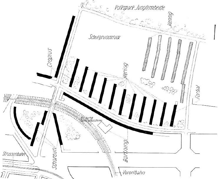 Planta principal de Siedlung Siemensstadt en la que se indica a quién pertenece la realización de cada una de las viviendas. Image © Arch Scharoun