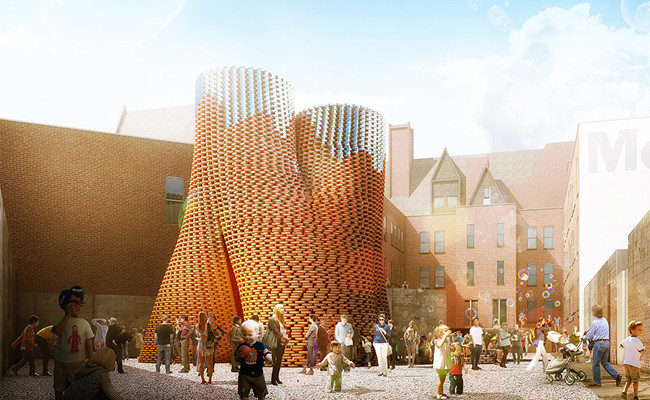 "Behind ""Hy-Fi"": The Organic, Compostable Tower That Won MoMA PS1's Young Architects Program 2014, The Living's Hy-Fi, winning design of the 2014 Young Architects Program. The Museum of Modern Art and MoMAPS1. Image © The Living"