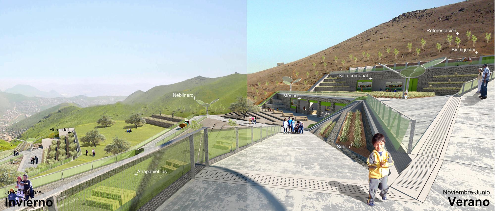 Primer Lugar Concurso Juan Gunther en Lima, Perú, Parque Atrapanieblas / Vista Invierno yVerano. Image Courtesy of Marius Ege