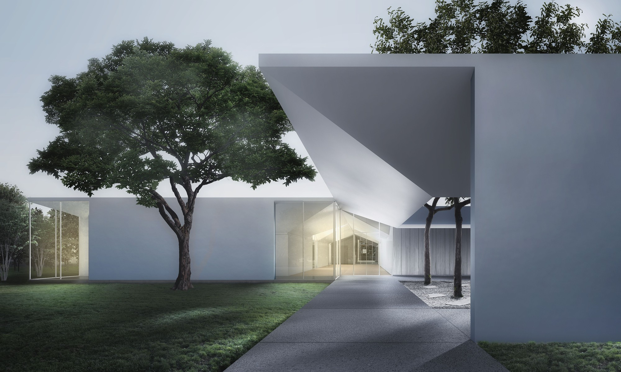 Menil Drawing Institute at dusk, looking past the west entrance courtyard. Image Courtesy of Johnston Marklee / The Menil Collection