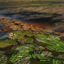 Aerial view of the South Bronx and Manhattan, Master Plan B. Image Courtesy of Terreform